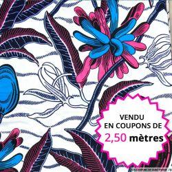 Wax africain feuillage rose et bleu fond blanc, vendu en coupon de 2,50 mètres