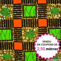 Wax africain patchwork vert et orange, vendu en coupon de 2,50 mètres