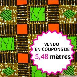 Wax africain patchwork vert et orange, vendu en coupon de 5,48 mètres