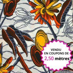 Wax africain feuillage orange et jaune fond blanc, vendu en coupon de 2,50 mètres