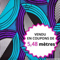 Wax africain demi cercle graphique violet et vert, vendu en coupon de 5,48 mètres