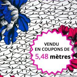 Wax africain fleurs fuchsia et bleu, vendu en coupon de 5,48 mètres