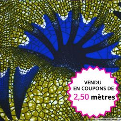 Wax africain écaille bleu, vendu en coupon de 2,50 mètres