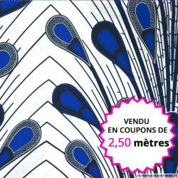 Wax africain roue de paon bleu fond blanc, vendu en coupon de 2,50 mètres
