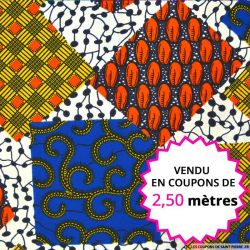 Wax africain fleurs fuchsia et bleu, vendu en coupon de 2,50 mètres