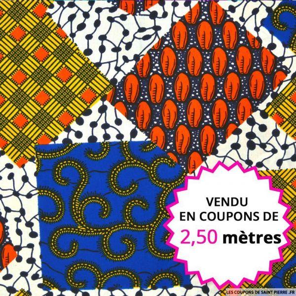Wax africain patchwork multicolore, vendu en coupon de 2,50 mètres