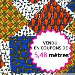 Wax africain patchwork multicolore, vendu en coupon de 5,48 mètres