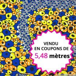 Wax africain lanterne fond bleu, vendu en coupon de 5,48 mètres
