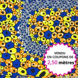 Wax africain lanterne fond bleu, vendu en coupon de 2,50 mètres