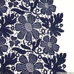 Guipure dentelle florale festonnée marine au mètre