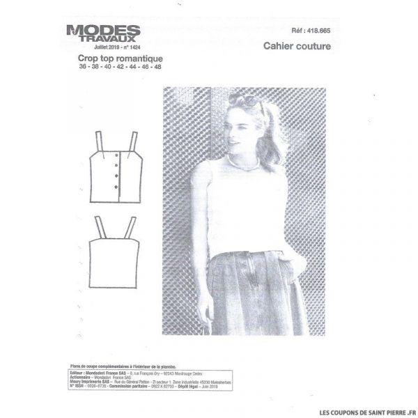 Patron n°418 665 Modes & Travaux - Crop top romantique