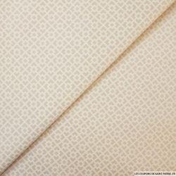 Satin de coton élasthane imprimé quadrillage graphique beige