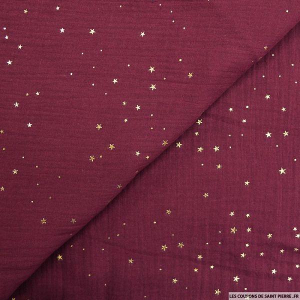 Double gaze lie de vin pluie d'étoiles dorés