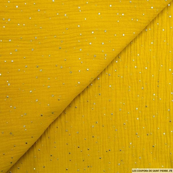 Double gaze moutarde confettis argent