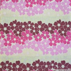 Jacquard polyviscose fleurs rose