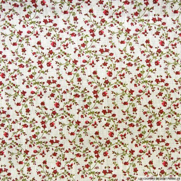 Lin imprimé fleurs rouge fond ficelle