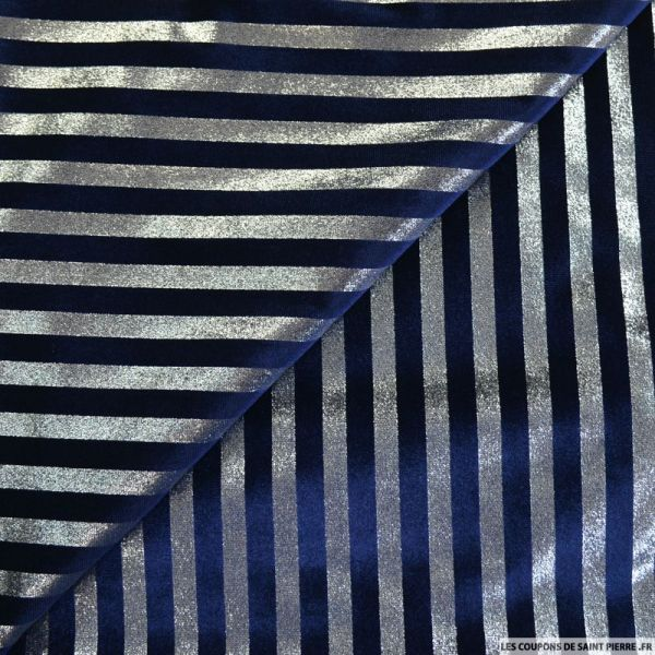 Jersey velours rayures lurex marine