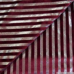Jersey velours rayures lurex bordeaux