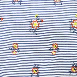 Seersucker polyester brodé fleur rayé bleu