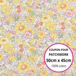 Coton liberty ® Betsy jaune - Coupon 50x45cm