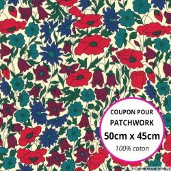 Coton liberty ® Poppy daisy automne Coupon 50x45cm