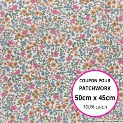 Coton liberty ® Emilia's Bloom rose Coupon 50x45cm