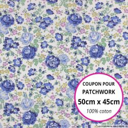 Coton liberty ® New Felicite bleu - Coupon 50x45cm