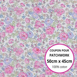 Coton liberty ® New Felicite rose - Coupon 50x45cm