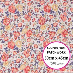 Coton liberty ® New Felicite rouge - Coupon 50x45cm
