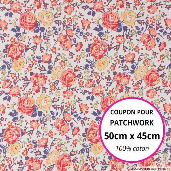 Coton liberty ® New Felicite rouge Coupon 50x45cm