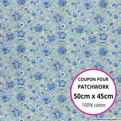 Coton liberty ® Amélie bleu - Coupon 50x45cm