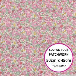 Coton liberty ® Betsy Ann rose - Coupon 50x45cm