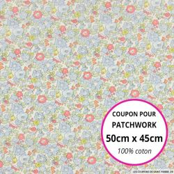 Coton liberty ® Betsy Ann porcelaine Coupon 50x45cm