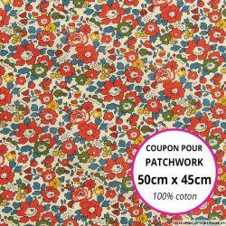 Coton liberty ® Betsy Ann rouge - Coupon 50x45cm
