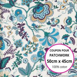 Coton liberty ® Mabelle bleu - Coupon 50x45cm