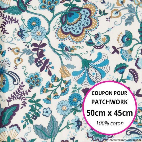 Coton liberty ® Mabelle bleu Coupon 50x45cm