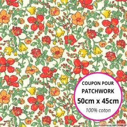 Coton liberty ® Meadow rouge - Coupon 50x45cm