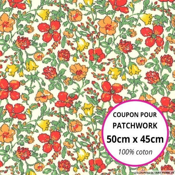 Coton liberty ® Meadow rouge au mètre