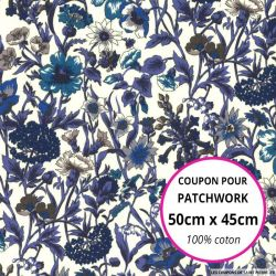 Coton liberty ® Rachel bleu - Coupon 50x45cm