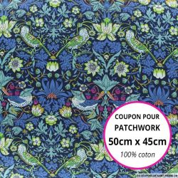Coton liberty ® Strawberry marine - Coupon 50x45cm