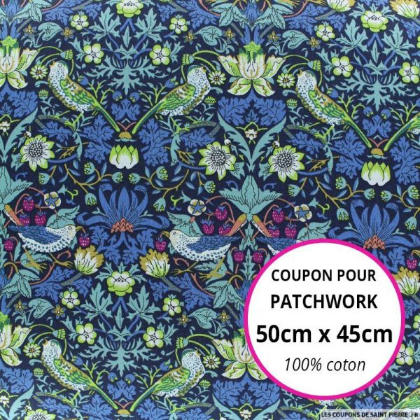 Coton liberty ® Strawberry marine au mètre