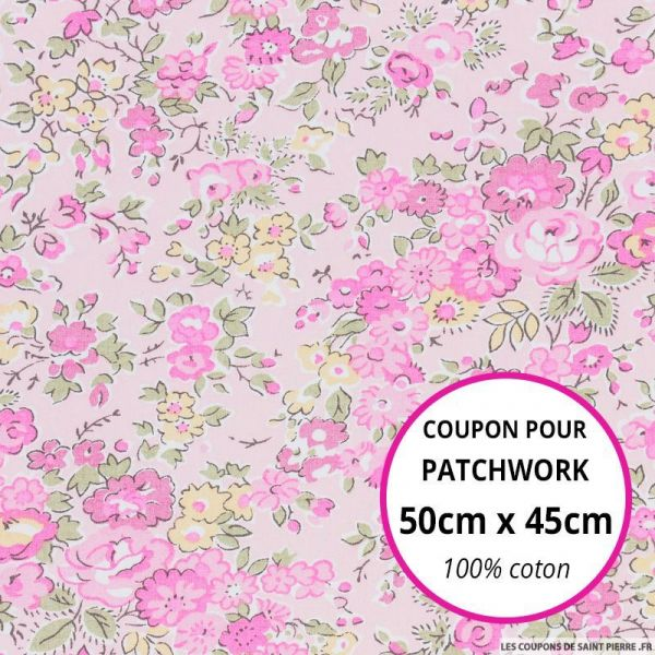 Coton liberty ® Tatum rose Coupon 50x45cm