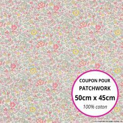 Coton liberty ® Katie Millie pastel - Coupon 50x45cm