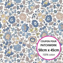 Coton liberty ® D'Anjo bleu - Coupon 50x45cm