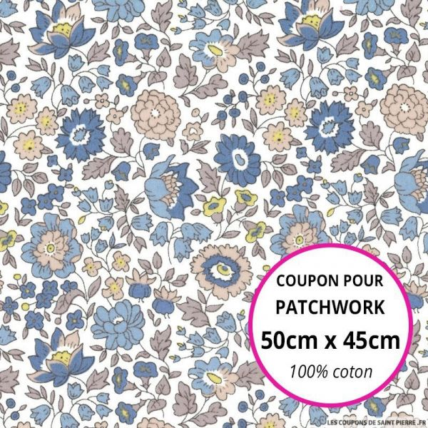 Coton liberty ® D'Anjo bleu Coupon 50x45cm