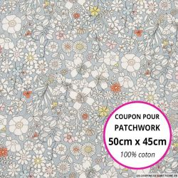 Coton liberty ® June's meadow gris - Coupon 50x45cm