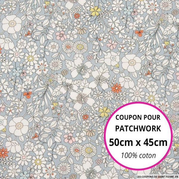 Coton liberty ® June's meadow gris Coupon 50x45cm