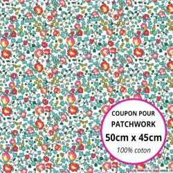 Coton liberty ® Eloise new rouge et aquamarine - Coupon 50x45cm