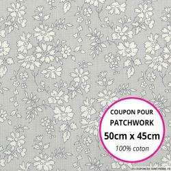 Coton liberty ® Capel gris Coupon 50x45cm
