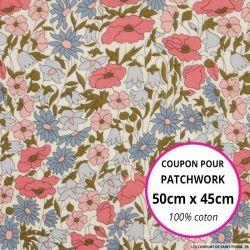 Coton liberty ® Poppy daisy hortensias - Coupon 50x45cm